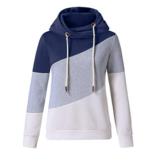 Sauahy Womens Tops for Ladies Long Sleeve Patchwork Hoodie Pullovers Solid Contrast Casual Sweatshirt Blue