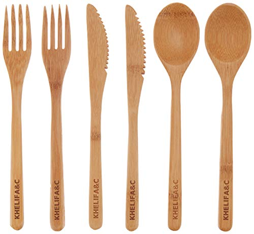 Bamboo Cutlery Set Khelif A & C, Bamboo Utensils, Eco Friendly Flatware Set, Bamboo Travel Utensils,...