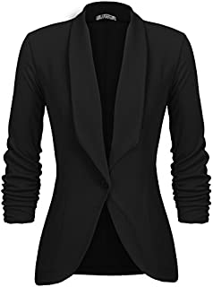 Beyove Women's 3/4 Stretchy Ruched Sleeve Open Front...