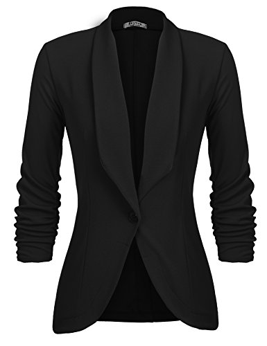 Beyove Women's Casual Work Office Blazer Jacket Open Front Solid Color Business Suit, Black X-Large