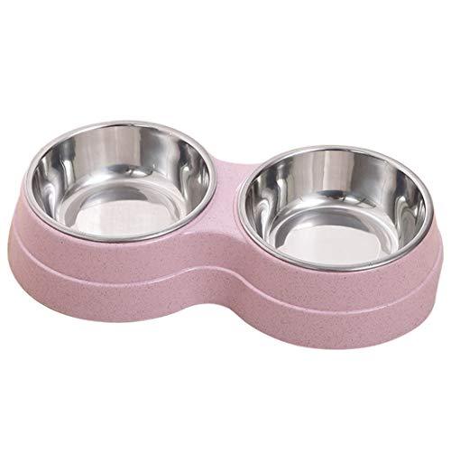 Surrui Comedero Plato para Gatos Durable Platos para Perros Seguro Dos en Uno Comedero Perro Tazón para Mascota para Gatos pequeños Perros Rosado Talla Única