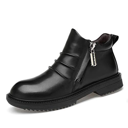 JCCOZ - URG - Botines de moda para hombre, casuales, cómodos y prácticos, de forro polar con cremallera privilegiada, zapatos altos (opcionales convencionales) URG (color: negro liso, talla: 46 EU)