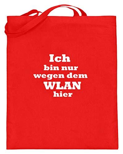 SPIRITSHIRTSHOP Ich Bin Nur Wegen dem WLAN aquí. - Internet, acceso a Internet, Wifi, navegación, dinero y dinero - Bolsa de yute (con asas largas), color, talla 38cm-42cm