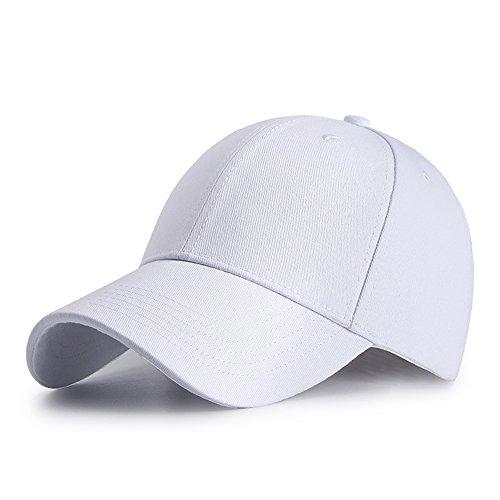 HGDGears Baumwolle Baseball Kappe Snapback Trucker Cap Verstellbar Sport Visier Hut für Herren und Damen (Weiß)