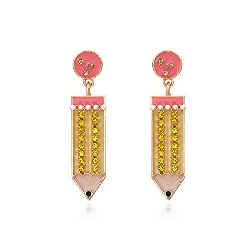 Pencil Earrings for Women - CZ Funny Dangle Earrings,Colourful Rhinestone Teacher Earrings Hypoallergenic,Cute School Party Jewelry Gifts for Teen Girls