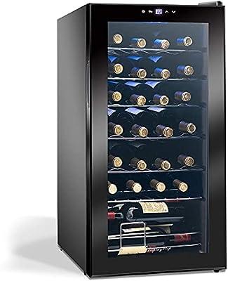 Display4top Wine Fridge, Wine Cooler,Wine refrigerator,Digital Touch Screen Controls,black (28 Bottles) by D4p