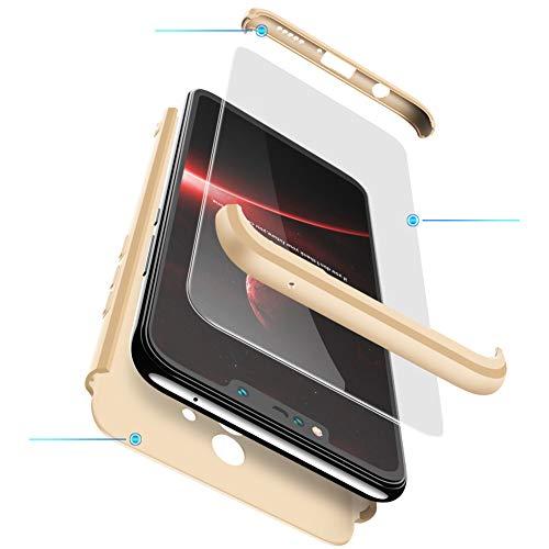 FMPC Hülle Kompatibel mit Huawei Honor 6X, 3 in 1 PC Schale Full-Cover Anti-Kratzer 360° Ultra dünn R&umschutz-Schale mit Gratis 3D Panzerglas Handyhülle Schutzhülle Case-Gold
