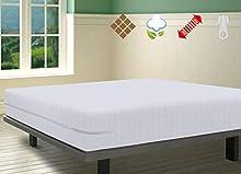 SAVEL, Funda de colchón Rizo 100% algodón con diseño a Cuadros, elástica, Ajustable y Muy Absorbente (90x190/200 cm, Blanco)