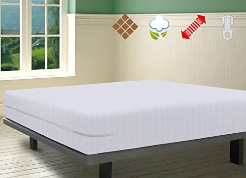 Savel, Matratzenbezug aus 100% Baumwollfrottee mit Karomuster, elastisch, anpassungsfähig, hochabsorbierend (Größe 140x190/200 cm, Weiß)