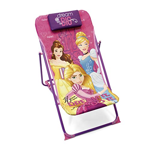 Disney Princesses WD9458 Fauteuil de Jardin/Plage réglable et Pliable pour Enfant sous Licence Princesses en métal et Tissu Dimensions: 43x66x61cm, 61 x 43 x 66 cm