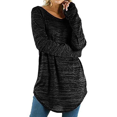 QIMANZI Blusen Damen Pullover Lange Ärmel Tuniken Übergröße Einfarbig Roun Sweatshirt Lange ÄrmelBluse Tops Shirt(A Schwarz,5XL)
