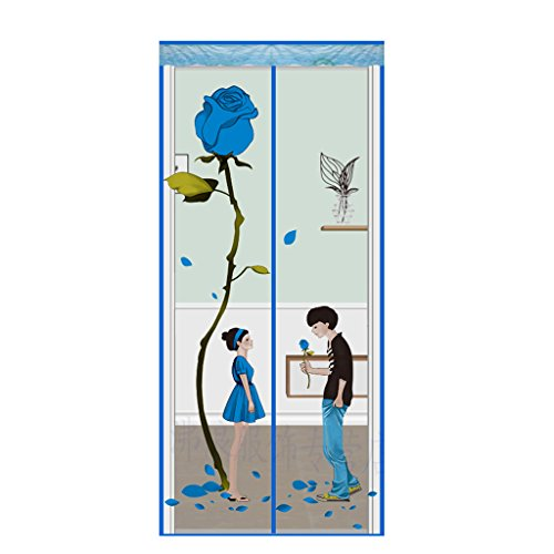HUIJU Cortina Casera Del Mosquito Perforado Mute-Libre Magnético Del Velcro Para Los 90 * 200Cm (Azul),#1,90Width*195Height