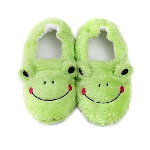 seemehappy Toddler Girls Boys Frog Slippers Winter Warm Cotton Slippers House Shoes Soft Bedroom Slippers,10 M US Toddler Green