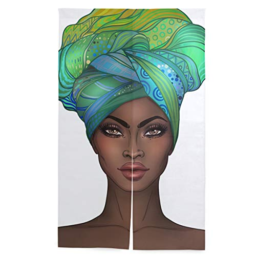 senya African American Pretty Woman Blackout Door Curtain for Privacy - Functional Thermal Insulated Window Curtain Panel for Door/Patio (34W by 56L Inches, Single Panel)
