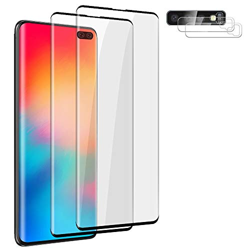 """2+2 Pack Galaxy S10 Plus Screen Protector and Lens Protector,Fingerprint Recognition 3D Touch No Bubbles 9H Hardness Tempered Glass Screen Protector for Samsung Galaxy S10 Plus / S10 + 5G 6.4"""""""