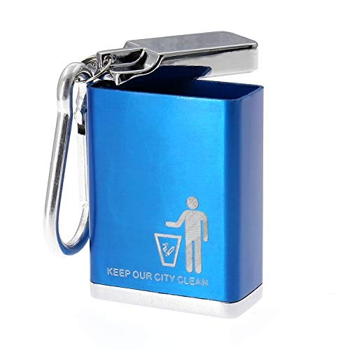 AYECEHI Metal Portable Ashtray,Outdoor Ashtray with lid, Keychain,Ash Holder for Smokers, Pocket Smoking Ash Tray,Easily Bringing When Travelling, Blue