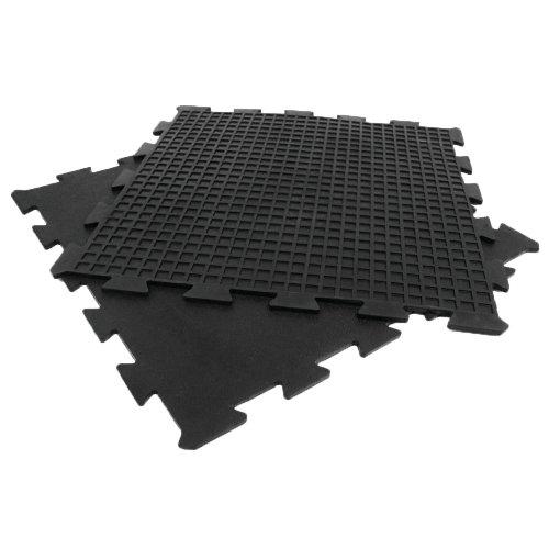 RubberCal quotArmorLock Interlocking Rubber Mat  3/8 in x 2 ft x 2 ft  4 Pack  16 Sqr/Ft  Black