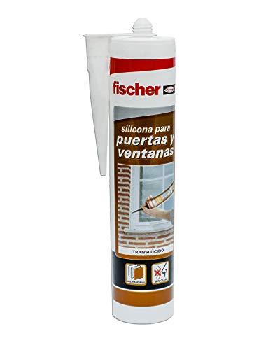 fischer – Silicona Puertas y Ventanas Trans (tubo de 300 ml) para pegado y sellado de ventanas y puertas al exterior, juntas de carpintería, gran adherencia, sin necesidad de imprimación
