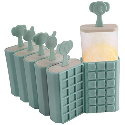 HONZUEN 6 Eisformen Eis Am Stiel Formen Stapelbar Eisform - BPA Frei Wiederverwendbar Eisformen Popsicle Formen Eisförmchen mit Stiel, Stieleisformer für Kinder und Erwachsene, Blau