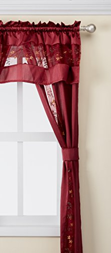 """Achim Home Furnishings Oakwood Valance, 58 14-Inch, Natural, 55"""" x 84"""", Burgundy"""