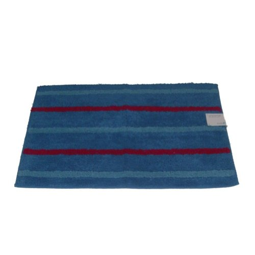 Studio A Blue Stripe Accent Bath Rug 20x30 Cotton Tub Mat