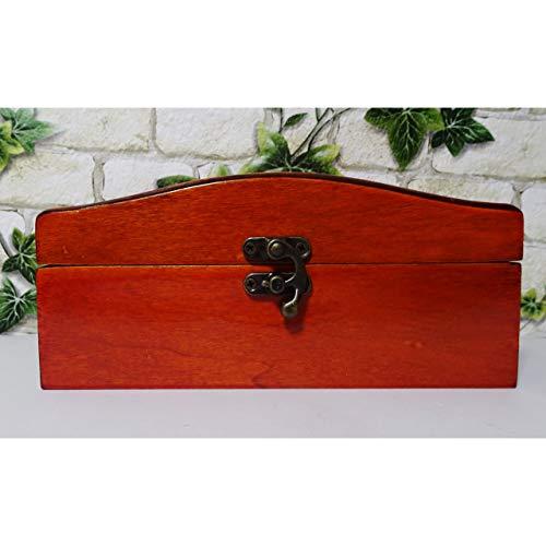 GR Schmuckkästchen Holz Schmuck Schatulle Koffer Truhe ca. 19,5cm Mahagoni-Optik braun