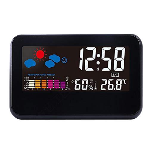 HomeDecTime Wetterstation mit LCD Farbdisplay Innen- und Außentemperatur, Hygrometer, Wecker/Schlummerfunktion, Sprachgesteuerte Hintergrundbeleuchtung