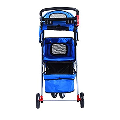 PawHut Pet Travel Stroller Cat Dog Pushchair Trolley Puppy Jogger Carrier Three Wheels (Blue) 9