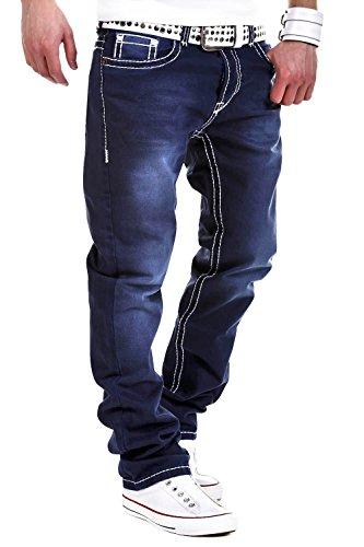 MT Styles Jeans Straight-Fit Hose RJ-133 [Dunkelblau, W32/L32]
