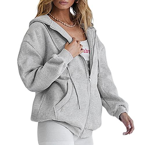 Abrigo de estilo suelto casual para mujer, chaqueta con capucha frontal abierta con cremallera de color sólido con bolsillos, gris, L