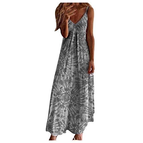 riou Vestido Largo para Mujer Verano Vestido de Playa Estampado Floral sin Mangas de Playa con Boho con Cuello en V Falda de Playa Ceremonia Noche