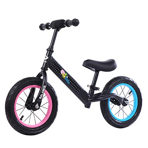JMSL Bicicleta para niños Equilibrio sin Huellas Scooter Ligero Ligero Wheeled Walker FreeWheeling Bicycle 1-12 años Baby Roller-AEBS-04黑色充气胎,14