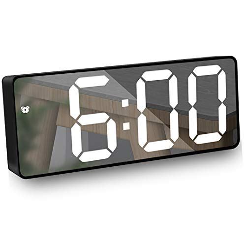 HAL Sveglia Digitale, Sveglia a Specchio con Display LED 6,5 Pollici Data/Temperatura/Luminosità Regolabile, Orologio Snooze per Viaggi/Camera da Letto/Ufficio/Cucina, USB e Alimentato Batteria-Nero