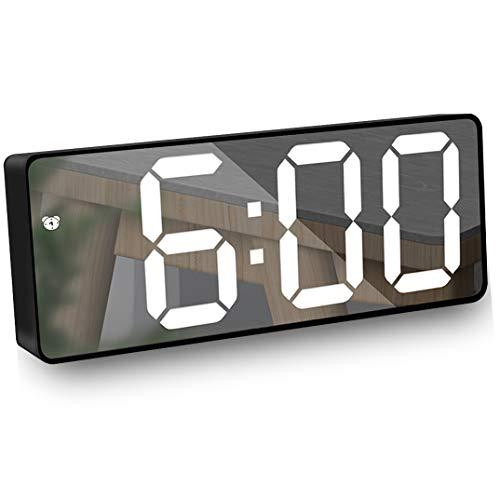 """HAL Reloj Despertador Digital, Pantalla LED Espejo Grande de 6.5"""" con Fecha/Temperatura/Ajustable Brillo,Snooze Reloj Digital para Viajes/Dormitorio/Oficina/Cocina, USB y Funciona con Pilas-Negro"""