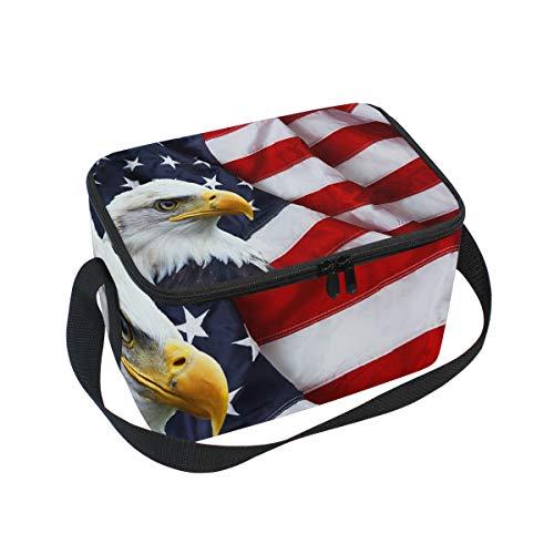Lunchbox mit Adler und amerikanischer Flagge, Kühltasche für Picknick, Schultergurt, Lunchbox