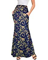 Afibi Women's Fold Over High Waisted Floor Length Maxi Flare Skirt with Pockets (Blue/Yellow, X-Large)
