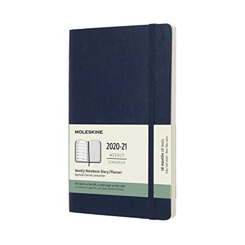 Moleskine - Agenda Settimanale 18 Mesi, Agenda Settimanale 2020 2021, Weekly Notebook con Copertina Morbida e Chiusura ad Elastico, Formato LARGE 13 x 21 cm, Colore Blu Zaffiro, 208 Pagine