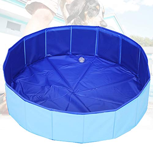 WANSHI Swimming Pool Wasserbecken für Hunde,Faltbarer Hunde Pool Katzenpool Swimmingpool Planschbecken Schwimmbad Hundebadewanne PVC-rutschfest (30x10cm, Blue)