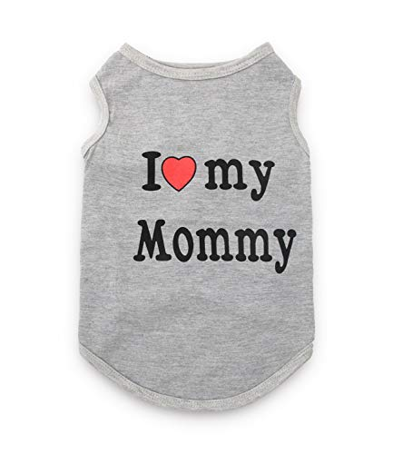 Dog T Shirt I Love My Mommy Pattern Puppy Clothes for Small Dogs, Small, Grey