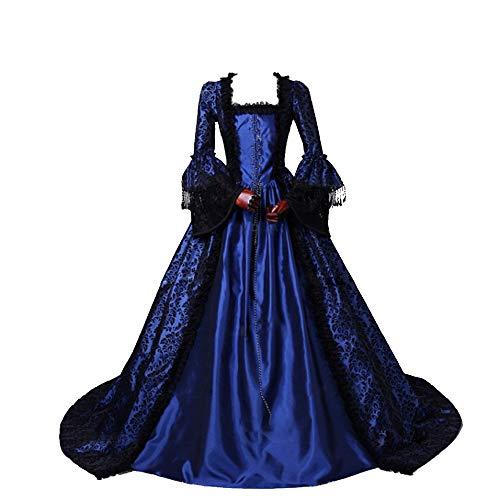 CountryWomen Renaissance Gothic Dark Queen Dress Ball Gown Steampunk Vampire Halloween Costume (L, Blue one)