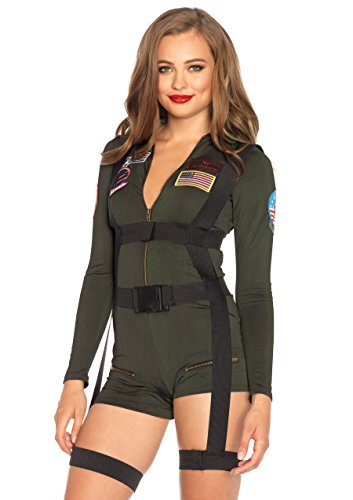 Leg Avenue Women's Top Gun Romper Costume, Khaki, Medium