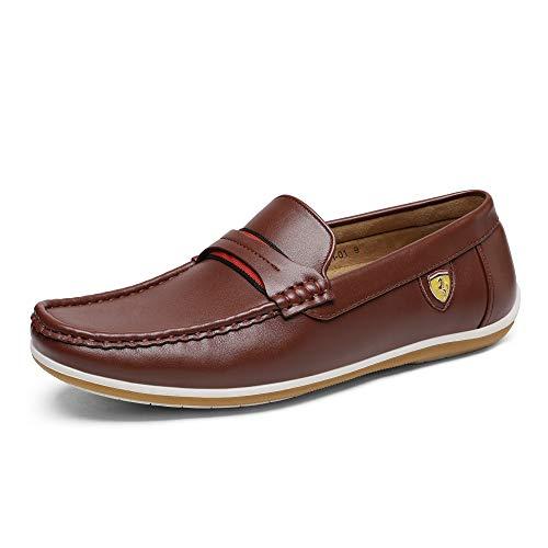 Bruno Marc Men's BUSH-01 Brown Driving Loafers Moccasins Shoes - 9 M US