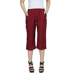 Patrorna Cotton Viscose Blend Womens Slim Fit Capri Pant in Maroon (Size XS-7XL, F08A016MR)