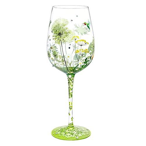 NymphFable Copa de Vino Pintada a Mano Flor Pájaro Libélula Copa de Vino Tinto 15oz Regalo para Familia o Amigo