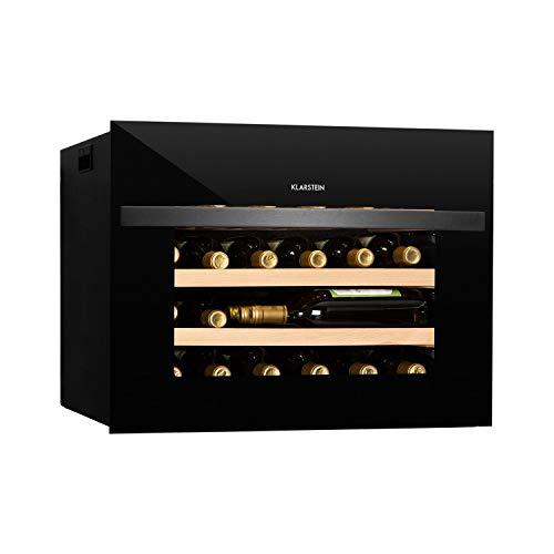 KLARSTEIN Vinsider - Nevera para vinos, EEC A, 24 Botellas, 1 Zona, Panel de Control táctil, Tempratura Ajustable, 5-20 °C, Puerta de Doble Vidrio, 3 estantes de Madera, Iluminación Interior, Negro