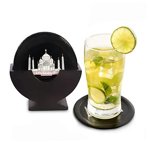 Divit 6-er Set Absorbierende Untersetzer aus Stein, 10 cm Durchmesser, Schwarze Marmoruntersetzer Mit Exquisiten Taj-Mahal-Einlegearbeiten, Geschenke fürs neue Zuhause, Coole Geschenkideen