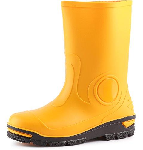 Ladeheid Kinder Mädchen Jungen Gummistiefel Regenschuhe Regenschuhe (Gelb, 35 36 EU)