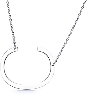 Women Simple Design Necklace Girls Letter Pendant Stainless Steel Party Dating Neck Chain Jewelry