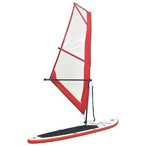 Tidyard Tabla de Paddle Surf Hinchable con Set de Vela Hinchable de Paddle Surf Rojo y Blanco