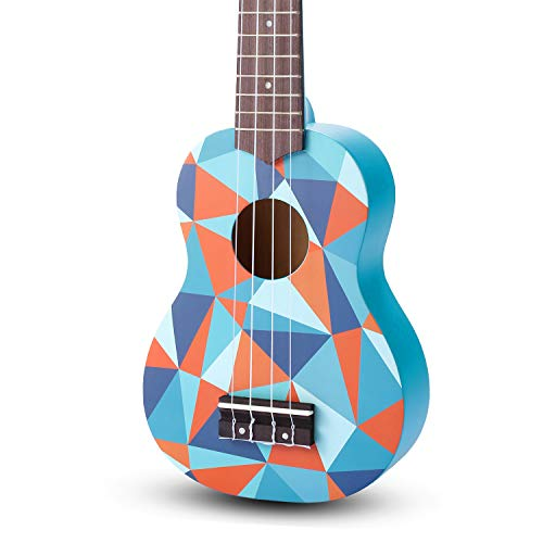 SanDona AK60F Soprano Basswood Ukulele,Children Musical Instruments, 21 Inch with Gig Bag for kids Students and Beginners, Blue and Flower